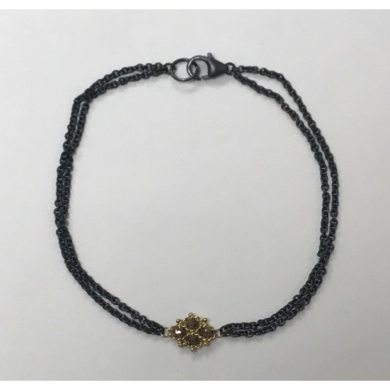 Amali Woven Champagne Diamond Station Bracelet