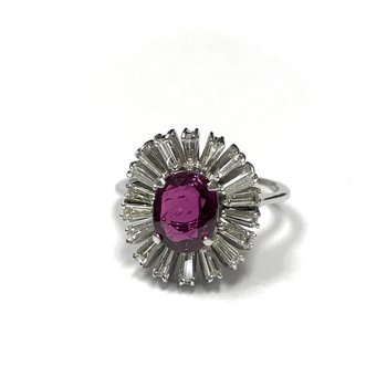 Oval Ruby & Tapered Baguette Diamond Ballerina Ring