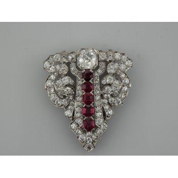 Vintage Platinum Diamond & Ruby Brooch