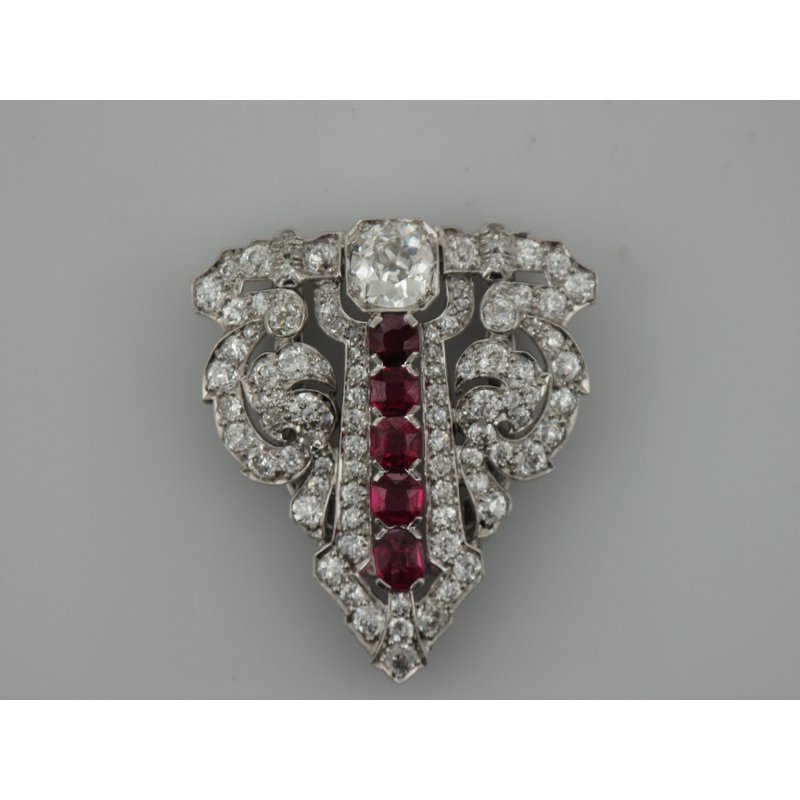 Antique, Estate & Consignment Vintage Platinum Diamond & Ruby Brooch