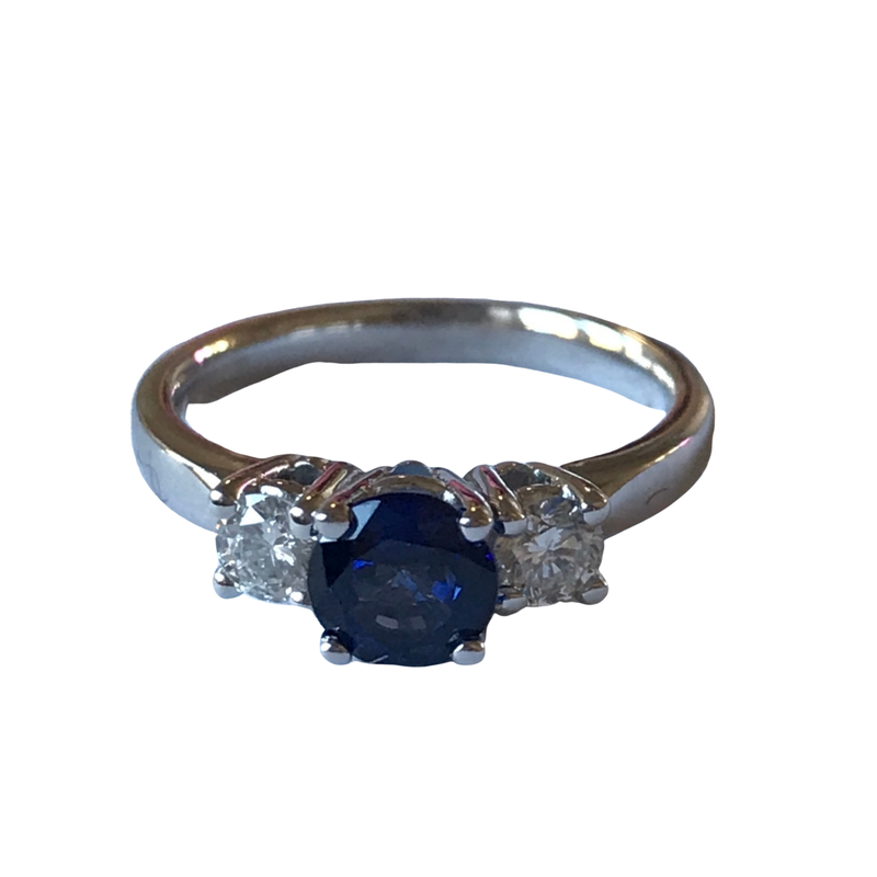 Antique, Estate & Consignment Sapphire & Diamond Three Stone Ring