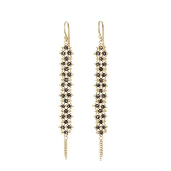 Textile Black Diamond Earrings