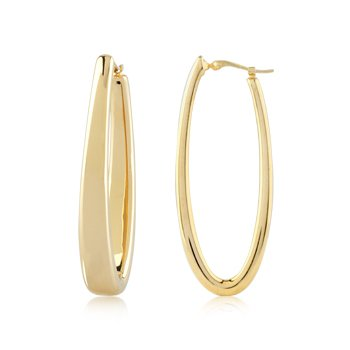 Gold Oblong Hoop Earrings