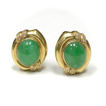 Jadeite & Diamond Earrings