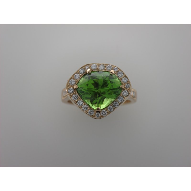 Antique, Estate & Consignment Peridot Diamond Halo Ring