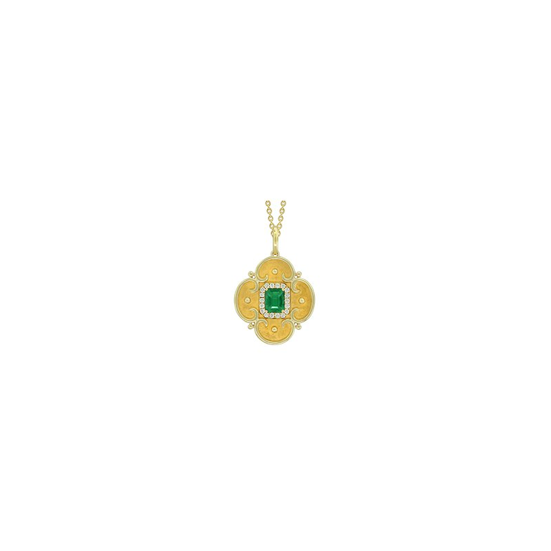 Spark Creations 18k Yellow Gold Emerald and Diamond Necklace