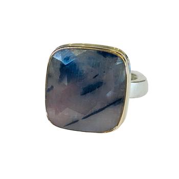 Rose Cut Linen Sapphire Ring