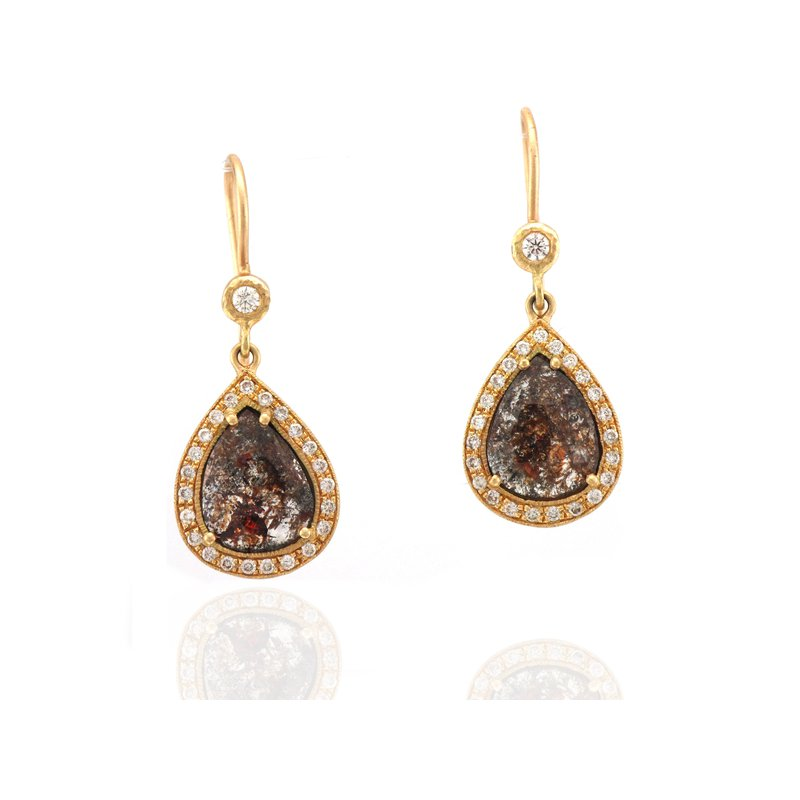 Yasuko Azuma Jewelry One of a Kind Redish Brown Diamond Earrings