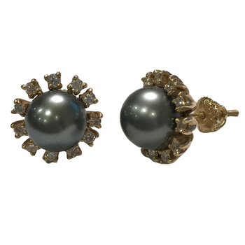 South Sea Pearl Diamond Halo Earrings