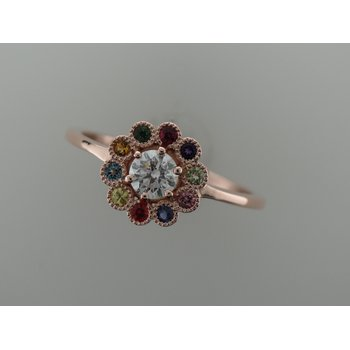 Rainbow Flower Engagement Ring