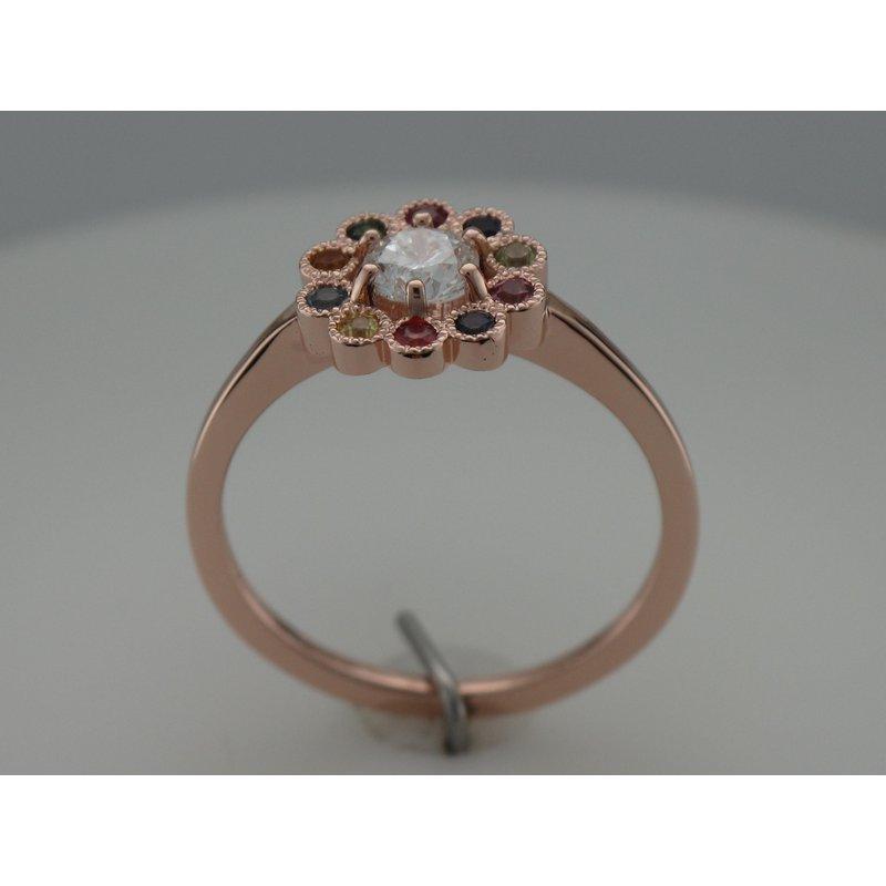 Hurdle's Custom Designs Rainbow Flower Engagement Ring
