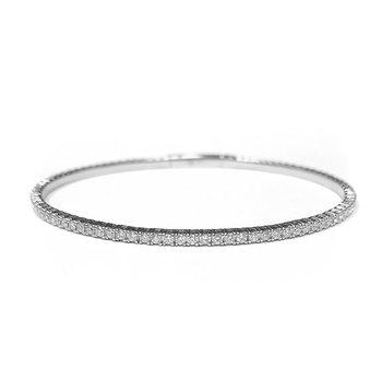 14k White Gold Flexible Diamond Tennis Bracelet