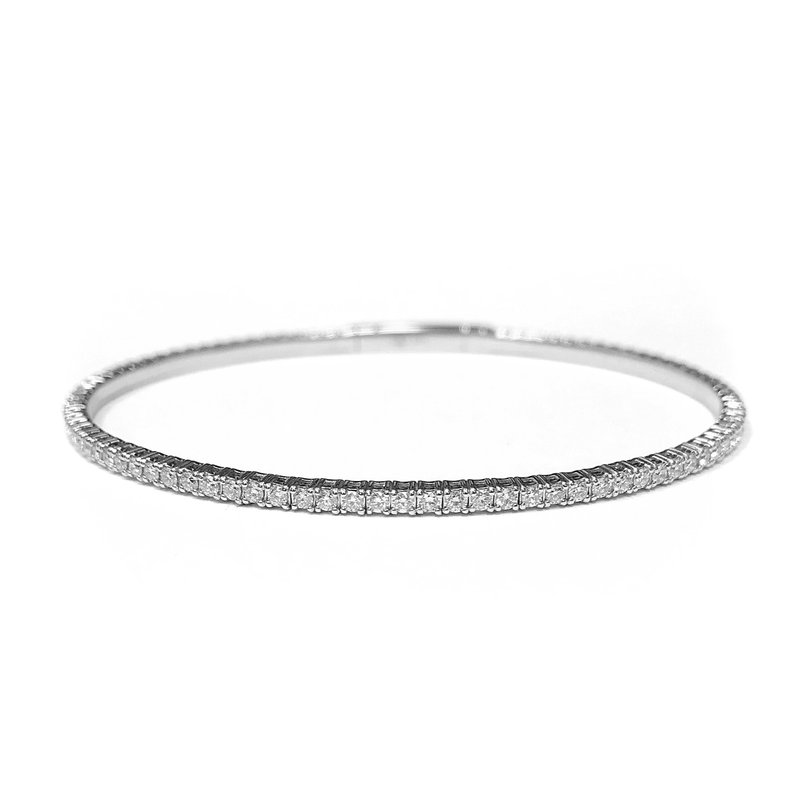 IDD Jewelry 14k White Gold Flexible Diamond Tennis Bracelet