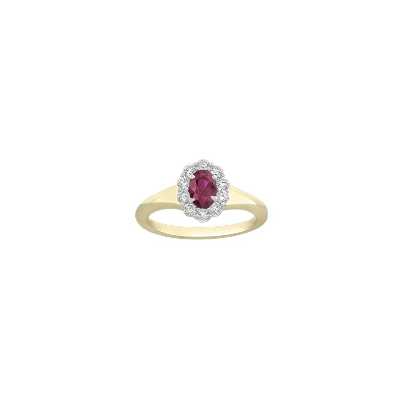 Spark Creations Oval Ruby & Diamond Halo Ring