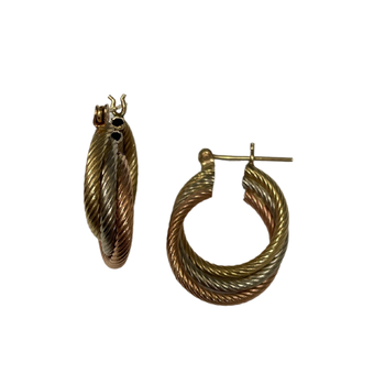 14k Tri Cold Twisted Earrings