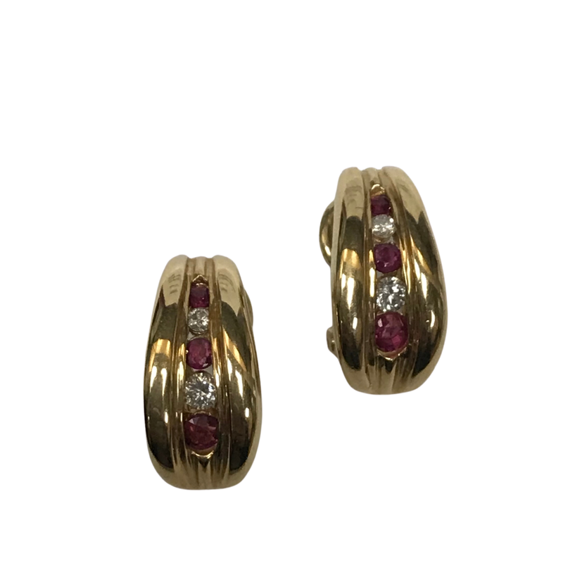 Antique, Estate & Consignment Ruby & Diamond Huggie Earrings
