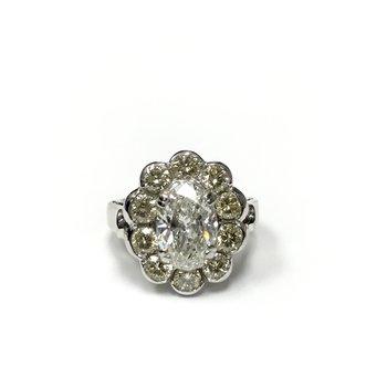 Yellow Diamond Oval Halo Ring