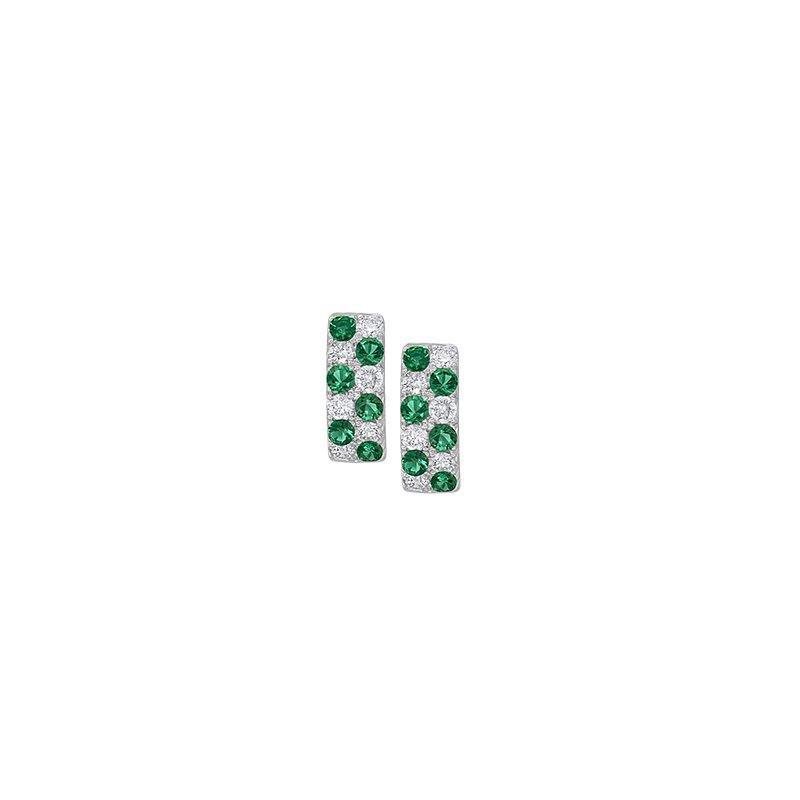 Spark Creations Emerald & Diamond Huggie Earrings