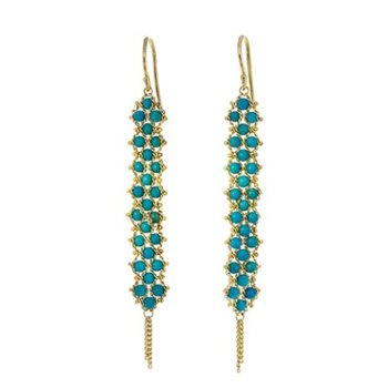 Textile Turquoise Weave Earrings