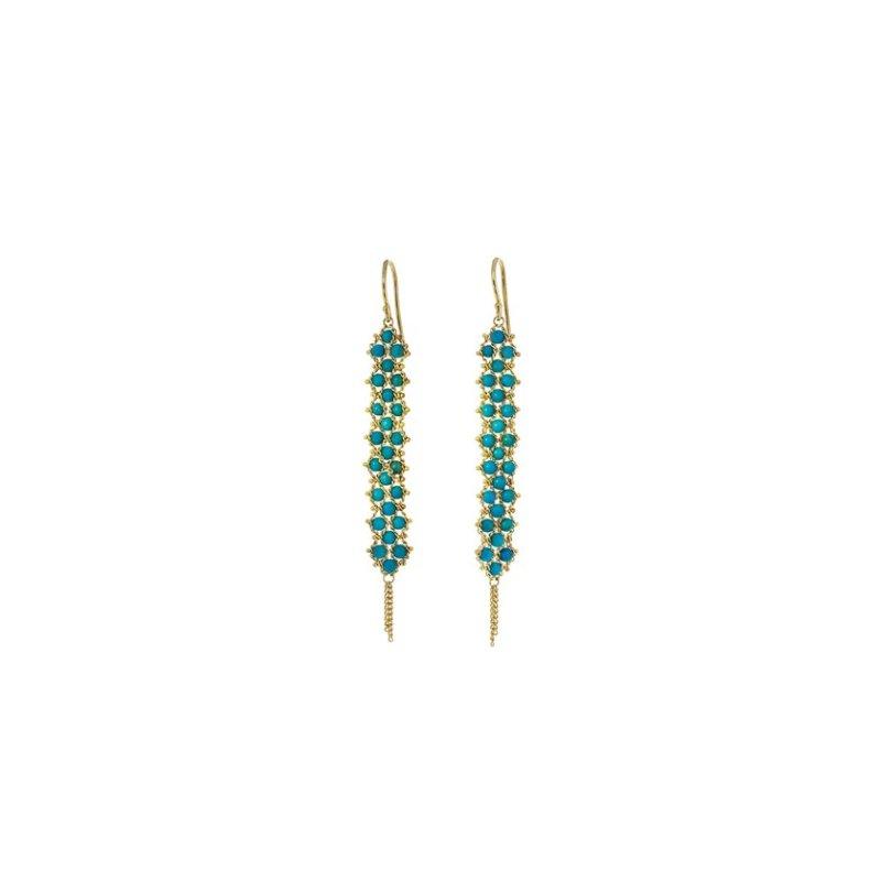 Amali Textile Turquoise Weave Earrings