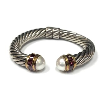 David Yurman Cable Tourmaline & Pearl Cuff