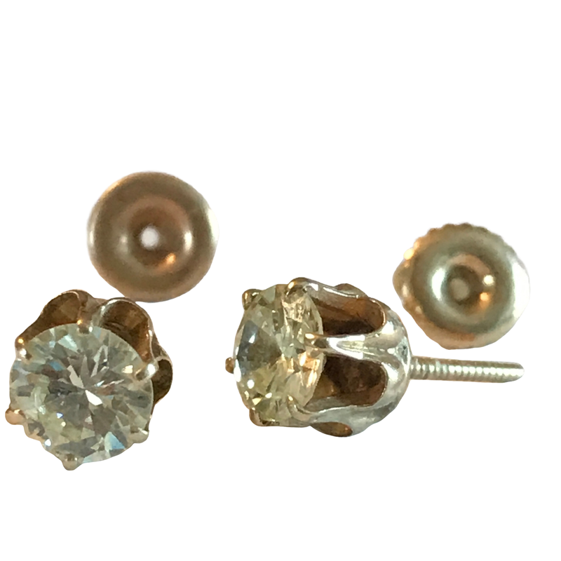 Antique, Estate & Consignment Six Prong Diamond Stud Earrings 1.25 Carats