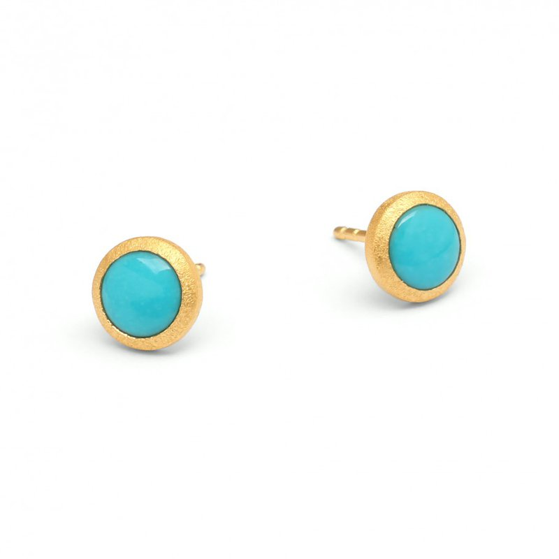 Bernd Wolf Rund Turquoise Stud Earrings