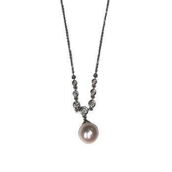Pearl & Diamond Y Necklace