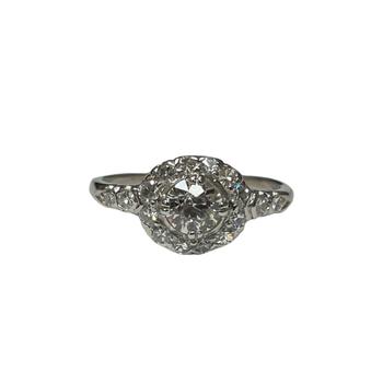 Platinum Halo Old European Cut Ring