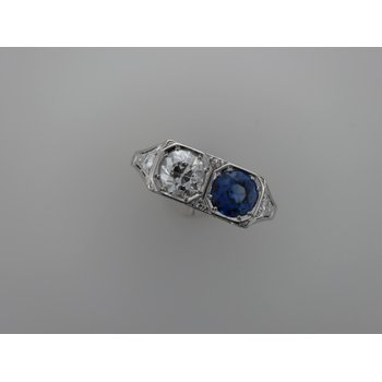 Platinum Diamond & Synthetic Sapphire Ring