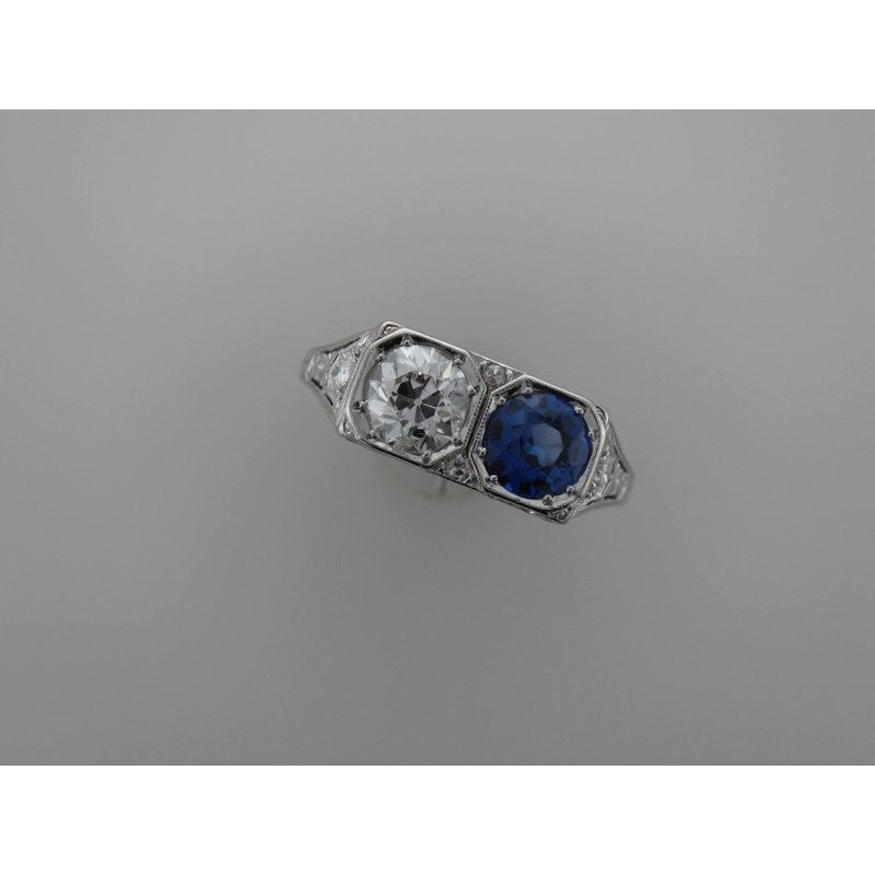 Antique, Estate & Consignment Platinum Diamond & Synthetic Sapphire Ring