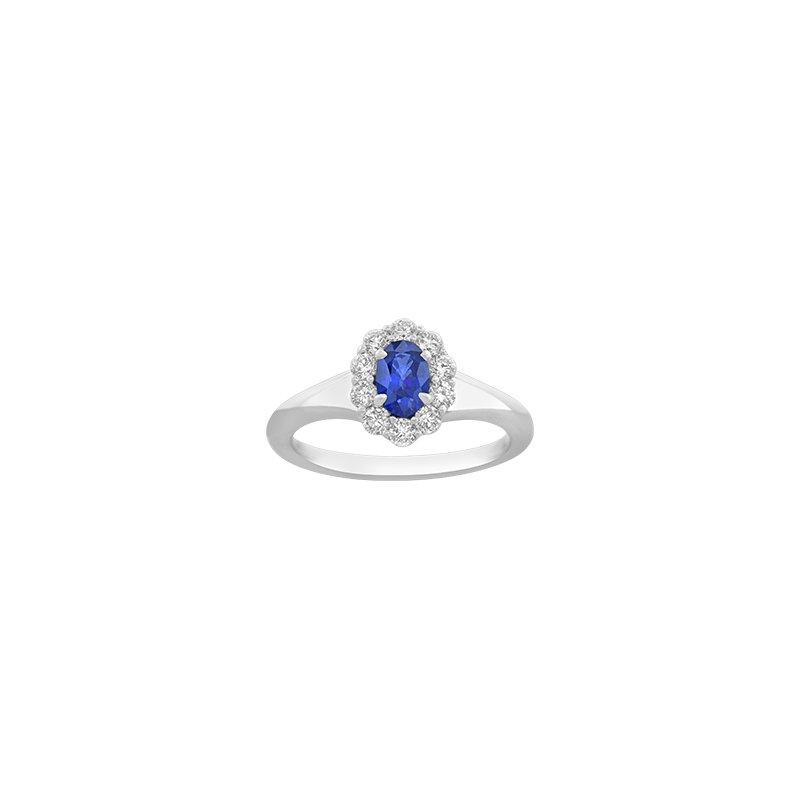 Spark Creations Oval Sapphire & Diamond Halo Ring