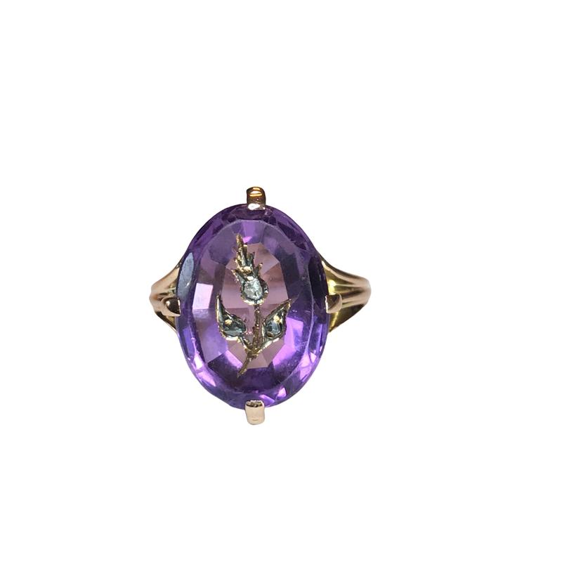 Antique, Estate & Consignment Inlaid Diamond Amethyst Ring