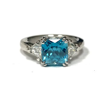Blue Zircon & Diamond Platinum Ring