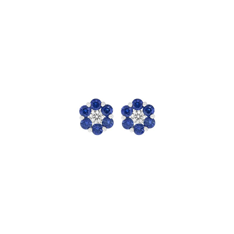 Spark Creations Sapphire & Diamond Cluster Earrings