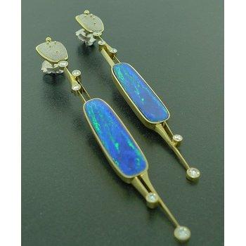 Opal Doublet & Diamond Earrings