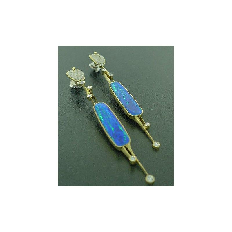 Richard Kimball Opal Doublet & Diamond Earrings