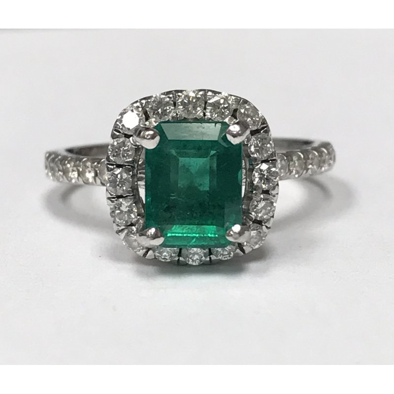 Antique, Estate & Consignment Halo Diamond & Emerald Ring