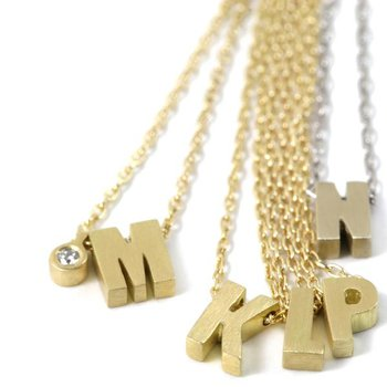 18k Micro Initial Necklace - L