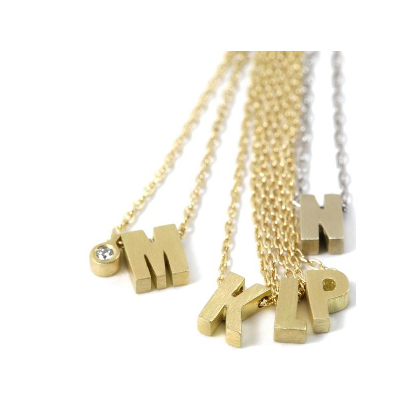 Marian Maurer 18k Micro Initial Necklace - L