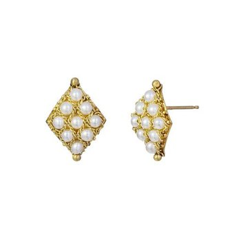 Textile Pearl Stud Earrings