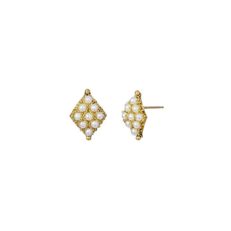Amali Textile Pearl Stud Earrings