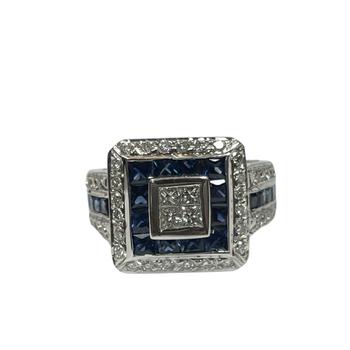 Diamond & Sapphire Halo Ring