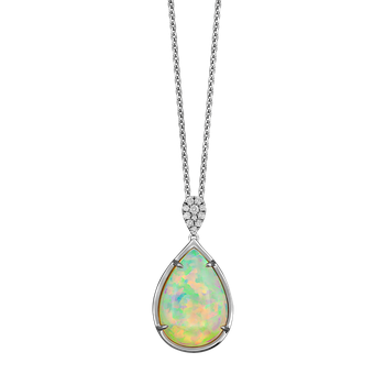 One of a Kind Opal & Diamond Necklace