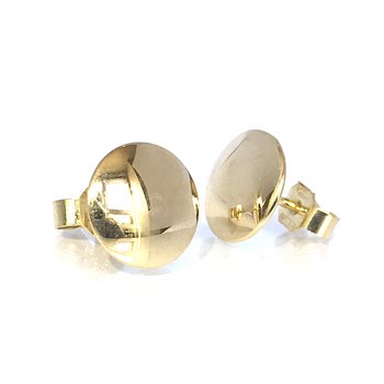 18k Gold Disc Stud Earrings