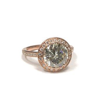 2.37 Carat Diamond Halo Engagement Ring