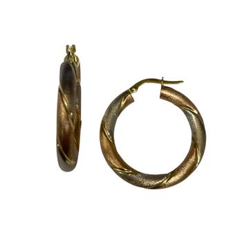 Tri Color Twist Hoop Earrings