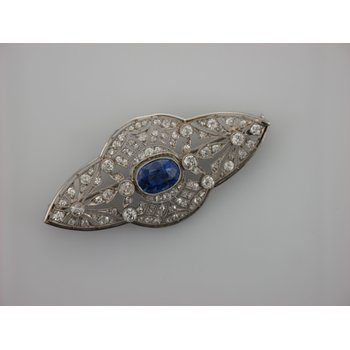 Untreated Sapphire & Diamond Platinum Pin