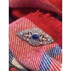 Antique, Estate & Consignment Untreated Sapphire & Diamond Platinum Pin