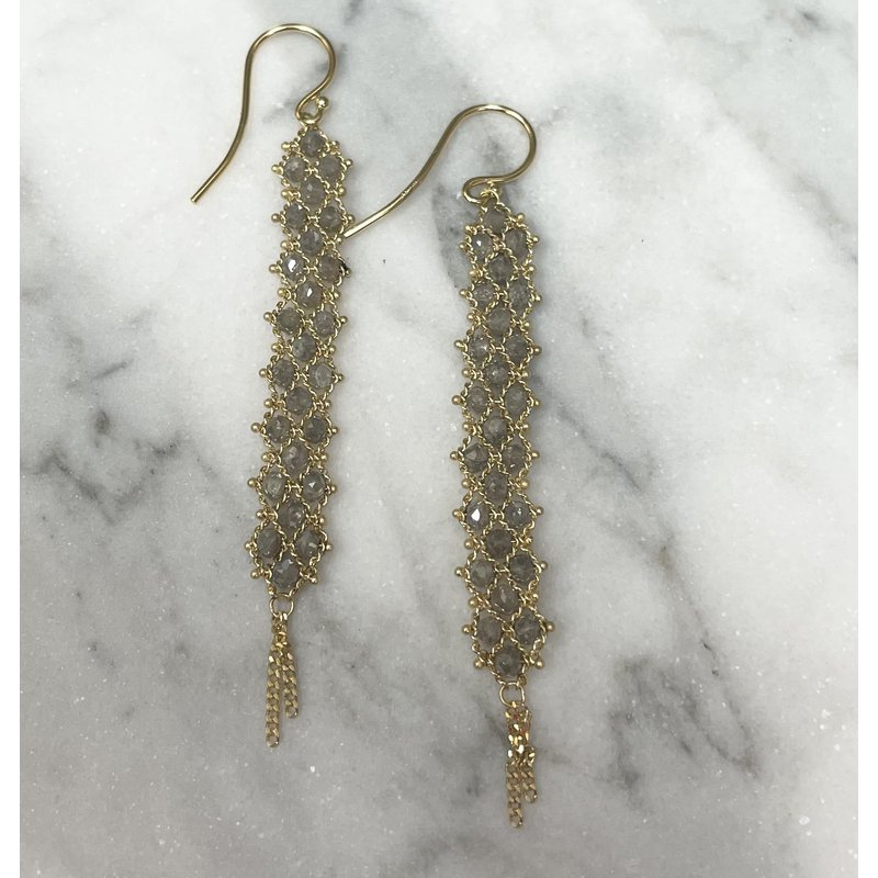 Amali Gray Diamond Textile Earrings